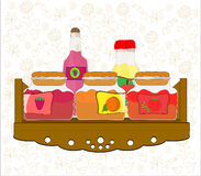 Picture of kitchen shelf with bottles and jam jars Royalty Free Stock Images