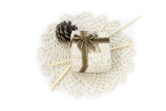 Picture with lace, mini box and decorations Royalty Free Stock Photo