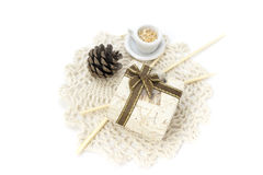 Picture with lace, mini box and decorations Stock Photos