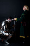 Picture of lady and knight. Attractive lady and her knight Stock Photography