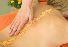 Picture of a lady relaxing in massage salon Royalty Free Stock Image