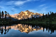 Picture Lake. Mt Shuksan with Picture Lake in foreground in Washington state Royalty Free Stock Photos