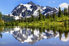 Picture Lake Evergreens Mount Shuksan Washington USA. Picture Lake Evergreens Mount Shuksan Mount Baker Highway Snow Mountain Trees Washington Pacific Northwest royalty free stock photos