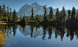 Picture Lake - Heather Meadows Landscape in Autumn Royalty Free Stock Photography