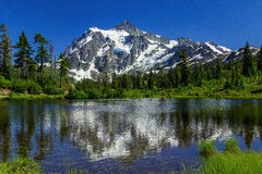 Picture Lake and Mount Shuksan, Washington stock photos