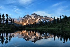Picture Lake. Mt Shuksan with Picture Lake in foreground in Washington state Stock Photography