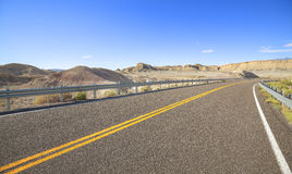 Picture of lanes on a desert road. Stock Photography