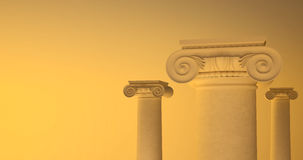Picture of large greek freestone columns. Royalty Free Stock Images