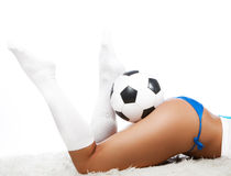 Picture of legs and ball Royalty Free Stock Photos