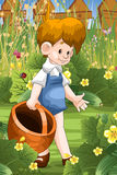 Boy collect cucumbers character cartoon style  illustratio Stock Photos