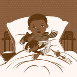 The picture of the little boy with a sore throat wrapped in a scarf, lying in bed. Stock Image