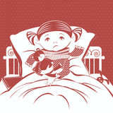The picture of the little girl with a sore throat wrapped in a scarf, lying in bed. Stock Images