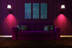 Picture living room with artificial lighting made in dark colors. 3d illustration Stock Photo