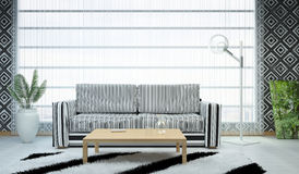 Picture of the living room done in the style of geometric shapes. (black and white). 3d illustration Stock Photo
