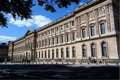 Louvres museum, part of the building, paris, france. Picture of louvres museum, famous landmark in paris. architecture of the building is world famous. nobody royalty free stock photography