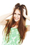 Picture of lovely brunette with long hair Royalty Free Stock Photo