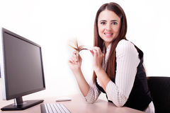 Picture of lovely woman counting cash money Royalty Free Stock Photography