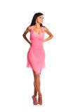 Picture of lovely woman in elegant pink dress isolated on white Stock Image