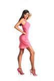 Picture of lovely woman in pink dress Royalty Free Stock Photos