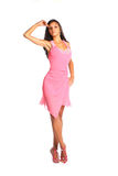 Picture of lovely woman in pink dress over white Royalty Free Stock Photography