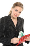 Picture of lovely woman with purse and money royalty free stock image
