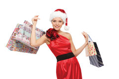 Picture of lovely woman with shopping bags Royalty Free Stock Photos