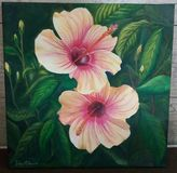 Painting of hibiscus flowers painted in oil in summer royalty free illustration
