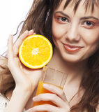 Picture of lovelygirl with  orange juice Royalty Free Stock Image