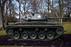 M24 Chaffee Tank. This is a picture of the M24 Chaffee on display at Cantigny Park located in Winfield, Illinois in DuPage County.  The M24 arrived on the World Royalty Free Stock Photography