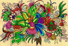 Floral patterns for tattoo. The picture is made by color markers on paper. Image size is less than A4 Stock Image