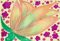 Berry-flower extravaganza. The picture is made by multi-color pencils on paper. The image size is about A4 Stock Image