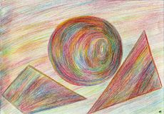 The composition of the iridescent shapes. The picture is made by multi-color pencils on paper. The image size is about A4 Stock Photography