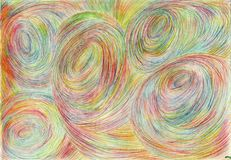 Spatial tunnels. The picture is made by multi-color pencils on paper. The image size is about A4 Stock Photography