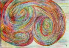 Time tunnels. The picture is made by multi-color pencils on paper. The image size is about A4 Royalty Free Stock Photos
