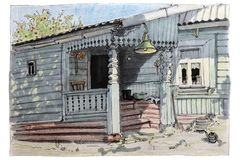 A summer in a village. An open door of a porch. vector illustration