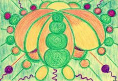 Bioenergy complex. The picture is made with wax crayons on paper. The image size is about A4 Stock Photo