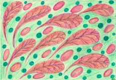 Leaves, eggs, beads. The picture is made with wax crayons on paper. The image size is about A4 Royalty Free Stock Image