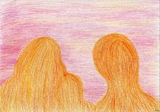 Silhouettes of three. The picture is made with wax crayons on paper. The image size is about A4 Stock Image