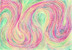 Silk carpet yarns. The picture is made with wax crayons on paper. The image size is about A4 Stock Photos