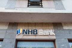 NHB Bank logo on their main branch in the center of Szeged Stock Photos