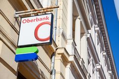 Oberbank logo on their main bank in the center of Szeged. Oberbank is an Austrian bank Stock Images