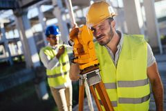 Picture of construction engineer working on building site Royalty Free Stock Images
