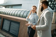 Picture of man and beautiful woman as business partners. Picture of handsome men and beautiful women as business partners Royalty Free Stock Photos