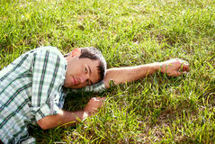 Picture of a man on the grass Stock Photo
