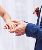 Picture of man putting  wedding ring on woman hand Royalty Free Stock Photography