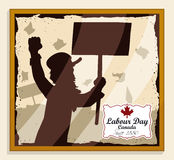 Picture of Man's Silhouette in Canadian Labor Day March, Vector Illustration. Retro picture with golden frame of a man's silhouette protesting in a Canadian stock illustration