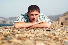 Picture of a man at the seaside Royalty Free Stock Photography