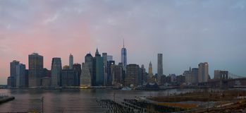 Manhattan Skyline from Brooklyn Heights Promenade stock photo