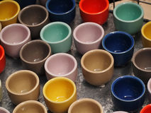 Colorful cups. Picture of the many colorful cups Stock Photos