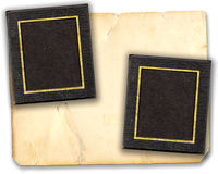 Picture Mats On Old Paper. Two black empty old real photo frame mats on aged vintage paper cardboard, ready for your images. Isolated on white background Stock Photography